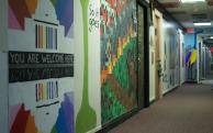 Art in a hallway at East Campus